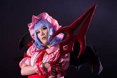 Remilias (bdrc) Tags: asdgraphy remilia scarlet touhou cosplay girl portrait cupcat studio indoor ximilu vampire gungnir spear wing props blackspace nikon nikkor 50mm f14d manual prime a6000 sony