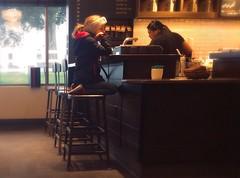 Waiting For Cocoa (MPnormaleye) Tags: iphone utata lowlight warm window stool coffee cafe girl kids child children