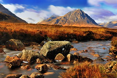 Buachaille Etive Mor (images@twiston) Tags: buachailleetivemòr thebuachaille riveretive theherdsmanofetive herdsman shepherd pyramid pyramidal river stream glenetive glencoe rannochmoor stobdearg munro le longexposure 10stopnd rocks pebble rock pebbles stone stones highlands scottishhighlands highlandsofscotland etive coupall mountain remote valley sunlight autumn clouds blue sky lochaber lonely morning scotland landscape green grass meadow glen patchwork dappled hill hills mountains imagestwiston schottland caledonia ecosse escoia alba tributary brook flowing burn buachailleetivemor brown snow snowcapped lightdusting