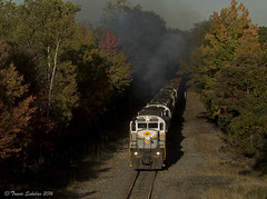 Clawing up to the Summit (Trevor Sokolan) Tags: diesel dl delawarelackawanna america alco mlw c636 gvt locomotive shortline pocono summit mountain grade fall color leaves trees scenic trains train trainspotting tracks railway railroad railfan rail railfanning pa pennsylvania usa us smoke exhaust
