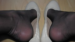 new beige leather flats, close up pics (Isabelle.Sandrine1998) Tags: tattoo shoes pumps ballet flats ballerinas stockings nylons shoeplay dangling beigeballetflatssecretaryoutfit
