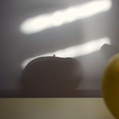 Autumnal diet (mi ne volimo šalu) Tags: abstract asymmetry artistic absence artificialstilllife apple circle empty shadow light blinds morning autumn yellow food fruit diet illumination idyllic tranquil lines minimalism monochrome mood organic stillife zen crazytuesdaytheme 7dwf