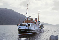 Countess Fiona arr Tarbet Pier, Loch Lomond. Sep'84. (David Christie 14) Tags: countessfiona lochlomond tarbet pier couintessfiona tarbetpier