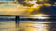 Watching morning rays (Masa_N) Tags: morning beach silhouette winter seashore sunrays australia surfersparadice water seaside sand sea goldcoast clouds surfersparadise queensland オーストラリア au