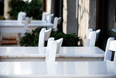 (jimiliop) Tags: tables restaurant cafe row white street greece wall tiles dof depthoffield chairs reflection morning taverna