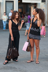 Two in Black (Ron Scubadiver's Wild Life) Tags: girl woman candid street style nikon 2875 italy outdoor florence sandals