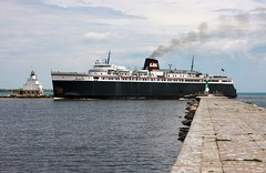 SS Badger (binsiff) Tags: lighthouse lake water car ferry wisconsin boat michigan ss badger lmc maintowoc