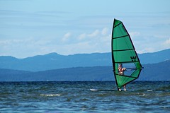 Smooth sailing (Kim's Pics :)) Tags: ocean blue mountain canada water warm britishcolumbia vancouverisland salty views windsailing parksvillebeach nearnanaimo