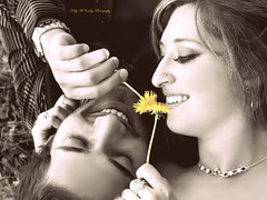 Floral Sonnet (Kelly McCarthy Photography) Tags: flowers flower love monochrome yellow sepia necklace engagement couple sweet flirt romance piercing flirting romantic selectivecolor flirtation nosepiercing focalblackandwhite