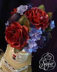 Tulsa OSSAS 2013 (RebeccaSutterby) Tags: show flowers red cake gold amazing purple weddingcake brooch jewelry pearls hexagon vase edible extraordinary lattice gumpaste extravagant 2013 ossas