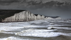 The Night Before the Storm (JamboEastbourne) Tags: park sea england cliff white storm sisters downs sussex chalk waves south cliffs east national seven