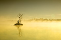 morning mist (thatgirlwiththekicks) Tags: morning november autumn sky sun lighthouse mist lake ontario canada tree fall silhouette island golden crowelake