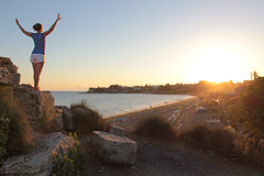 Side - top of the ancient wall on the beach 19 (Romeodesign) Tags: sunset sea sky woman sun holiday beach nature girl beautiful beauty silhouette sport rock yoga wall female strand training turkey pose outdoors evening coast living concentration stand healthy energy mediterranean riviera slim exercise body top feminine side urlaub trkiye young free lifestyle trkei antalya health gymnastics balance recreation meditation practice relaxation shape fitness peninsula stretching turkish wellness flexible workingout gymnastik gleichgewicht 550d pamphylian