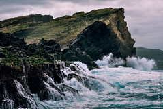 The Rock (joeri-c) Tags: ocean sea wild cliff tourism portugal water birds rock photoshop island nikon holidays waves cloudy pico zodiac nikkor volcanic atlanticocean archipelago azores lightroom açores faial ilhadopico arquipélago d5000 ilhadofaial 55300mm