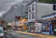 Gold Rush-era buildings on S. Franklin Street (PhotosToArtByMike) Tags: alaska ak juneaualaska mountjuneau klondikegoldrush southfranklinstreet goldminingtown cityofjuneau downtownjuneau