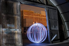 2013-12-20 Orb in the doorway (Ralph on and off) Tags: longexposure urban lightpainting tripod orb urbanexploration afterdark slowshutterspeed urbex withoutflash longexposuretime debron nikond300 ledwire thephotographyblog