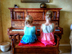 My granddaughters tickling the ivories   (Explore #61) (Aussie~mobs) Tags: flickrandroidapp:filter=none snapseed piano duet sisters children music aussiemobs