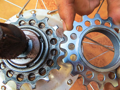 Used and new Rohloff sprocket (jbdodane) Tags: africa bamenda bicycle cameroon cameroun day388 notmypic repair ringroad rohloff freewheelycom cycling vlo cycletouring cyclotourisme velo jbcyclingafrica