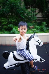 Yeah! Riding White Horse (Shun Daddy) Tags: life family baby 35mm hongkong prime kid child minolta sony snapshot f2 af fullframe dslr   ff    2013  a99