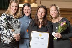Susanne Bergh, Sofia Grosche, Liza Hansson och Matilda Ringström från Länsförsäkringar, nominerad till Web Service Award 2013 i klassen Information & Service.