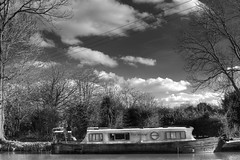 Charleanne - canal boat (2geephotography) Tags: blackandwhite canals canalboat worcesterbirminghamcanal canon5dmkiii tardebiggecanal zeissotus55mmf14apodistagonlens 2geephotography