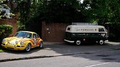 Porsche 911 and VW Van (Trackside70) Tags: uk england cars vw volkswagen buckinghamshire 911 porsche van newportpagnell