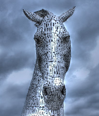 The Kelpies in Falkirk (charlieinlesmahagow) Tags: uk horses wonder scotland riverclyde artistic glasgow modernart culture scottish photographic historic canals massive stunning historical helix publicart legend hdr equine symbolic falkirk kelpie andyscott clydeside forthandclydecanal horseart lotteryfunding scottishart thekelpies charlieinlesmahagow clachmananshire excepotionalspeciual bestclyde bestclydeside