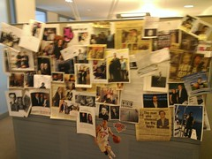 a [very blurry] wall of photos and clippings (KLGreenNYC) Tags: newyorker visits offices