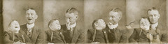 Strip photos of a man and son playing (simpleinsomnia) Tags: old boy white black monochrome sepia laughing vintage booth found happy photo blackwhite kid photobooth child antique father snapshot arcade son photograph strip vernacular foundphotograph