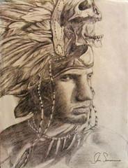 Guerrero (gin.simmonns) Tags: retrato lapiz guerrero azteca penacho