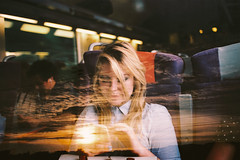 Late (Louis Dazy) Tags: sunset film girl youth clouds analog train sunrise 35mm photography exposure double colourful