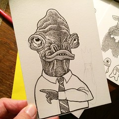 Good day, monsterwise. (Don Moyer) Tags: creature ink drawing sketchbook moyer donmoyer brushpen