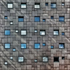 Cubist Cosmos (Paul Brouns) Tags: tile limestone architectuur architektur square quadratum facade surface light shadows windows pattern urban arnhem paulbrouns paulbrounscom geometry geometric grey diagonal structure structural abstract abstrakt abstraction