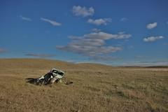 don't look ethel (RhinoSkin) Tags: old car bent inthehills prairie grasslands landscape