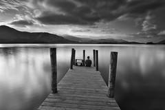 52 - 41 'Contemplation' (RHughes5) Tags: monochrome black white clouds landscape pier water long exposure man person self