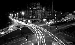 03-IMG_7868 B&W light trail (marinbiker 1961) Tags: nighttime charingcross glasgow 2016 lights nightphotography pink blackandwhite monochrome road skyline architecture building infrastructure night city
