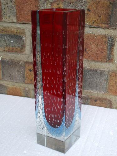 Huge Murano Sommerso Cased Glass Vase Red Blue Mid Century Modern
