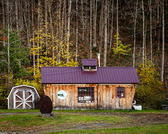 Toll Bridge Sugar House (Karol A Olson) Tags: purpleroof tinroof trees cornish newhampshire