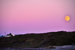 Le soleil brille, la lune claire   -  The sun shines, the moon lights (Philippe Haumesser Photographies) Tags: outside nature coucherdesoleil sunset lune moon cte littoral coast maison house matane canada nikond7000 d7000 nikon reflex panorama 2016