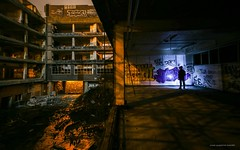 Treading In A Pool Of His Own Midnight (john&mairi) Tags: graydunncobiscuitfactory derelict dereliction abandoned urbex grafitti figure silhouette me courtyard night nighttime nocturnal titusgroan gormenghast mervynpeake torch light