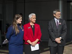 Delphine Halgand, RSF U.S. Director, Debra Tice, Austin Tice's mother, and Douglas Jehl, Washington Post Foreign Editor