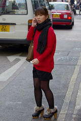 Carefully Crossing the Street 1 (booster_again) Tags: skirt tights pantyhose boots