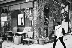 DR1-070-33A (David Swift Photography Thanks for 19 million view) Tags: davidswiftphotography philadelphia kensington chairs tables streetphotography streetscapes garage 35mm picturesonawall wallhangings film ilfordxp2 leicaminilux