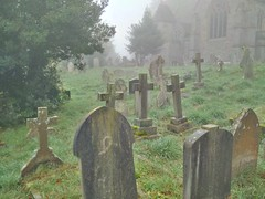 Halloween treat (gowersaint) Tags: death gravestones halloween misty mist graves moody wet damp decay deceased fall autumn britain england uk herefordshire hereford belmont country countryside rural morning spooky image carving church abbey victorian grass trees catholic