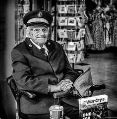 """""""A Soldier without Sword or Gun"""" (Pensioner Percy, very slow at the moment) Tags: salvationarmy soldier portrait dscrx100m3 rx100m3 sony thewarcry williambooth christianmission eastlondonchristianmission christian sallyann monochrome stafford shopping charity collecting charitybox uniform disabled pensioner army"""