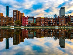 Brownstone Reflections ((Jessica)) Tags: brownstones newengland sky iphone6s iphone symmetry water massachusetts boston esplanade clouds reflections backbay pw
