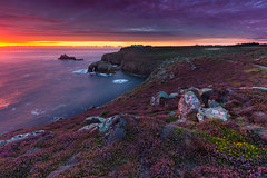 Perfection in purple (snowyturner) Tags: atlantic sunset flowers heather cornwall cliffs rocks arch clouds