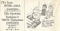 Peter-Lima - Osthammar, Sweden (73sand88s by Cardboard America) Tags: qslcard cbradio cb qsl vintage violence bound sweden