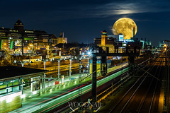 superMOONday (Sascha Holznagel) Tags: westhafen night deutschland landscape canonef85mmf18 blauestunde cityscape canon langzeitbelichtung berlin longexposure lichtzieher nacht nachthimmel bluehour urbanview nightsky beusselstrase canoneos6d moon mond supermoon supermond luna superluna hafen harbour skyline moabit sbahn fabrik factory noche supermonn2016 sky blue cielo azul lune germany fabrica train trainstation lights