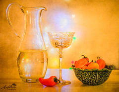 Pitcher and Peppers (by Amy Davies, Plymouth, MA) Tags: canon6d december friends hawleyhouse stilllifes pitcher wine wineglass peppers minipeppers yellow texture bokeh bowlofpeppers bowlofproduce glass crystal champagneglass antiquestemware leafbowl festive